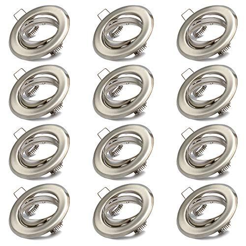 12x Einbaustrahler GU10 Set – 12 Stück Einbaurahmen in Edelstahl gebürstet Optik Inkl. GU10 Fassung für LED oder Halogen Leuchtmittel, 30° Schwenkbar, Rund