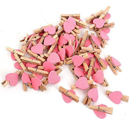 Mini Holz Wäscheklammern / Kleine Holzklammern / Dekoklammern in verschiedenen Farben (Herz rosa)