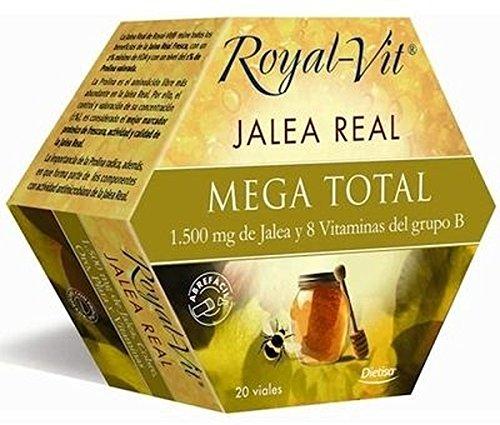 Royal-Vit Jalea Real Mega Total de 20 Viales de 10 ml de Dietisa - Cada Vial Contiene 1500 mg de Jalea Real y 8 Vitaminas del Grupo B y Niacina - Complemento Alimenticio que Contribuye a Disminuir la Fatiga y el Cansancio Extremo