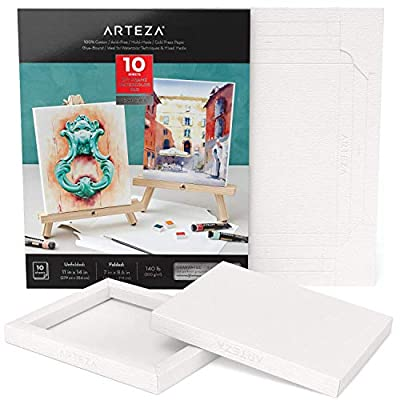 Arteza Watercolor Art Paper Foldable Canvas Pad, Folded Size 7x8.6 Inches, 10 Sheets, DIY Frame, Canvas Pad, 140 lb, 300 GSM, Acid-Free, 100% Cotton Pulp, for Painting & Mixed Media Art