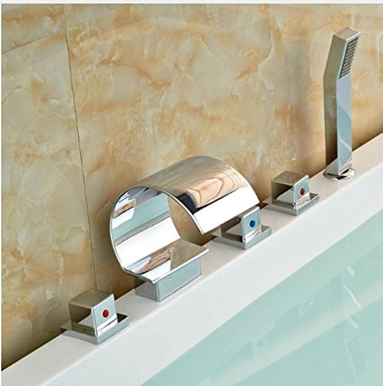 Gowe? Newly Solide Brass Bathtub Faucet 5pcs Chrome Polish Fuacet With Hand Shower Mixer Faucet