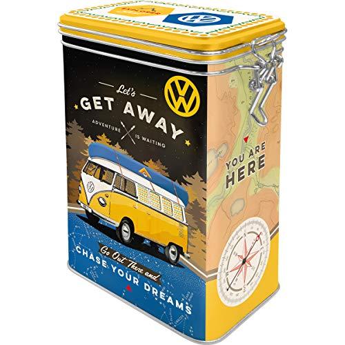 Nostalgic-Art Retro Kaffeedose - Volkswagen - VW Bulli T1 - Let's Get Away, Blech-Dose mit Aromadeckel, Vintage Geschenk-Idee für VW Bus Fans, 1,3 l