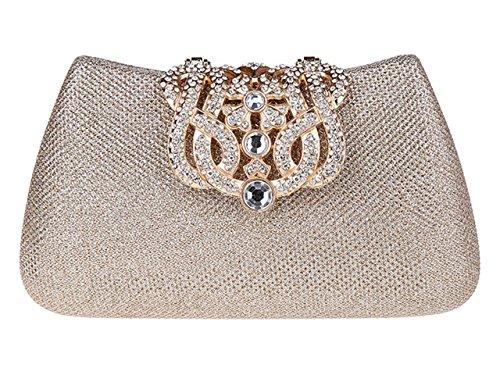 AnKoee Borsa Pochette da Donna Diamante Frizione Borsa Festa di Nozze Borsa Tracolla(Champagne)