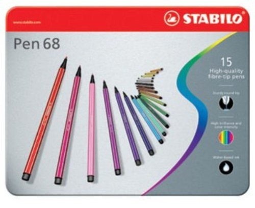Pennarello Premium - STABILO Pen 68 - Scatola in Metallo da 15 - Colori assortiti