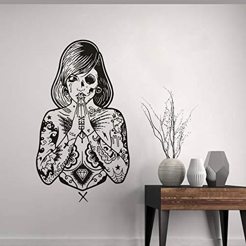 TYLPK Vinyl Wandaufkleber kreative Tattoo Mädchen Wand Applikation Mode coole Tattoo Fenster Poster schwarz 33x57cm