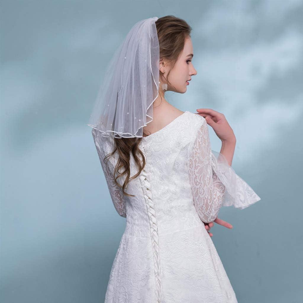 S-TROUBLE Velos de Vestido de Novia Perlas Falsas Blancas Tul con Peine Velo Corto de Novia Velo de Novia Accesorios de Matrimonio de Hadas
