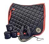 Equipride - Juego de almohadillas para silla de montar de doma con velo y vendajes a juego, color negro (completo/mazorca)