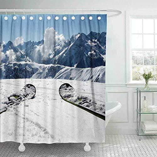 N\A Badezimmer Duschvorhänge, Aussicht & Berg Panorama Ski Alpen Wasserdichter Duschvorhang Weihnachtsduschvorhang Bunter Duschvorhang