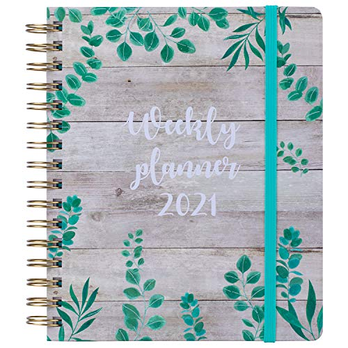 """2021 Planner, Academic Weekly and Monthly Planners, Jan 2021 to Dec 2021, 7"""" x 8.5"""", Flexible Hardcover, Strong Twin Wire Binding, Thick Paper with Inner Pocket, Elastic Closure, Leaf"""