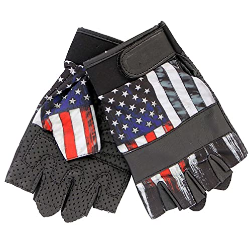 Hot Leathers GVM3008 Uni-Sex Black 'Heartbeat USA Flag' Fingerless Leather Gloves - Small
