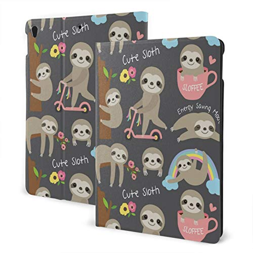 Compatible with Ipad Air3 10.5 Ipad Case Apple Generation Cute Sloth Screen Protector Mini Case 2020 Anti-Slip Full Protective Stand Cover Slim 360 Degree Rotating Auto Wake/Sleep