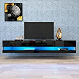 """N /C 80 Inch Floating TV Stand, 20 Color LED Wall Mount Floating Shelves Home Large Storage Cabinet for Living Room Home Office (Black, 70.9x16.5x11.8"""")"""