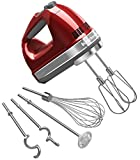 KitchenAid KHM920A 9-Speed Hand Mixer candy apple red - With (Free Dough hooks, whisk, milk shake liquid blender rod attachment and accessory bag) Candy Apple Red