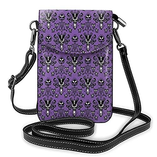 Bolso de cuero ligero de la PU pequeño bolso de Crossbody mini bolsa del teléfono celular bolso de hombro con correa ajustable mansión embrujada