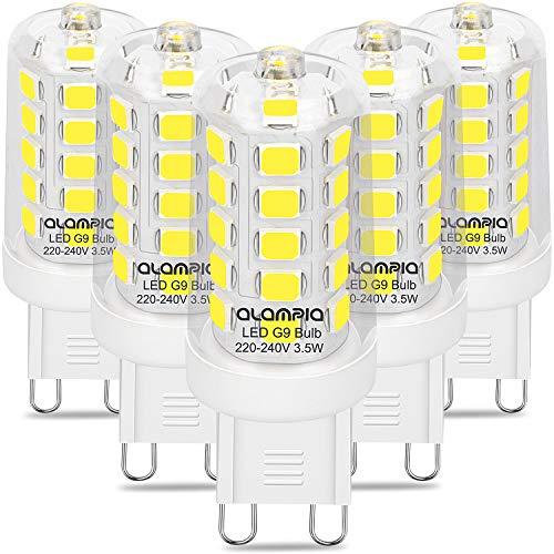 Bombillas LED G9, Luz Blanca Fría 6000K, 3.5W 400 Lumens (Equivalente a Bombilla Halógena 40W), con Casquillo Estándar G9, Iluminación Led 360°Ángulo Sin Parpadeo, No Regulable, 5 Piezas
