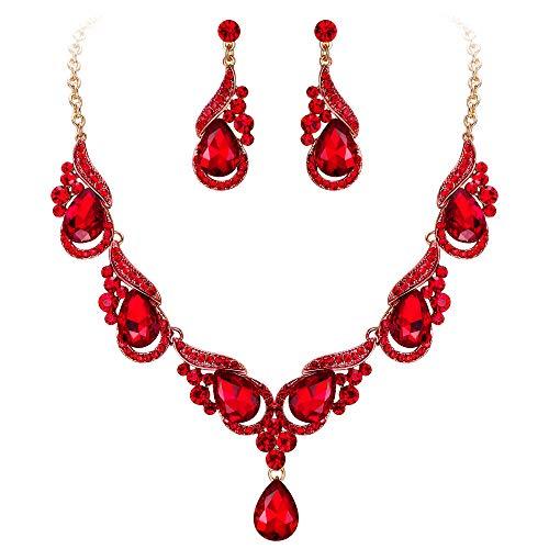 EVER FAITH Juegos de Joyas para Mujer Cristal Austríaco Oleada Floral Boda Rojo Tono Dorado Collares Pendientes Conjunto