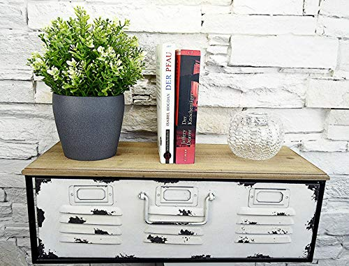 Livitat® Regal mit Schublade Schweberegal Wandboard Hängeregal Metall Vintage Industrie Loft Design LV5064 (Weiß Groß)