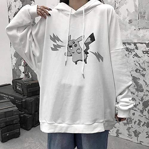 JUSTTIME Herfst en Winter Donker Cartoon Casual Grote Grootte Reflecterende Bliksem Pikachu Trui Dikke Hooded Jas Student XL Kleur: wit