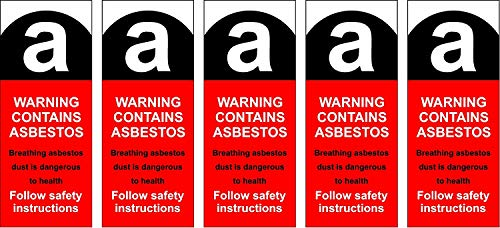 Asbestos Warning Labels 25mm x 65mm Pack of 5