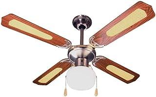 Ardes ar5a107d Ventilador de techo con luz, 3velocidad, 4Aspas Reversible, control a cordón, Nogal/Paja de Vienna, diámetro 107cm