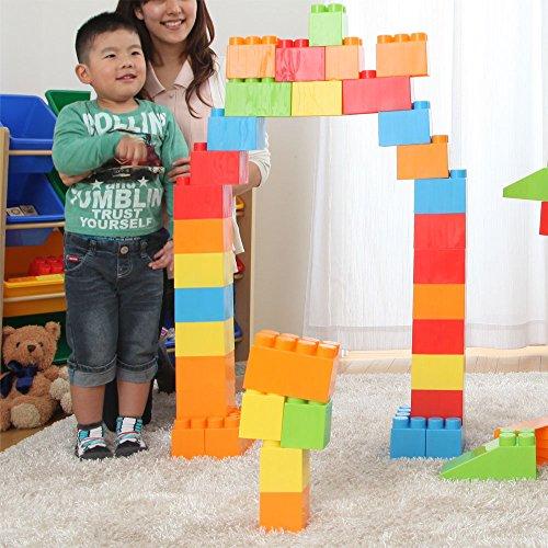 ぼん家具 ブロック おもちゃ 〔88ピースセット〕 大きい 知育 こども用 パズル カラーブロック ビッグ 玩具...