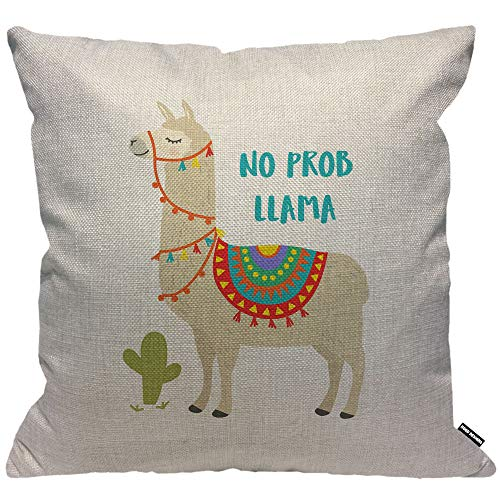 HGOD DESIGNS Llama Cushion Cover,Cute Animal Alpaca with Cactus Motivational Quote No Prob Llama Throw Pillow Case Home Decorative for Living Room Bedroom Sofa Chair 18X18 Inch Pillowcase 45X45cm