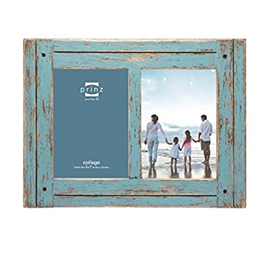 Prinz 2 Opening Homestead Antique Wood Collage Frame, 5 x 7 , Blue