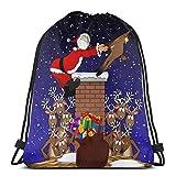 Dessin Animé Graphique Représentant Le Père Noël Étant Tiré vers Le Haut d'une Cheminée par Un Renne Cordon Sac à Dos Sac Gym Danse Sacs Cadeau d'anniversaire 17×14 Pouces