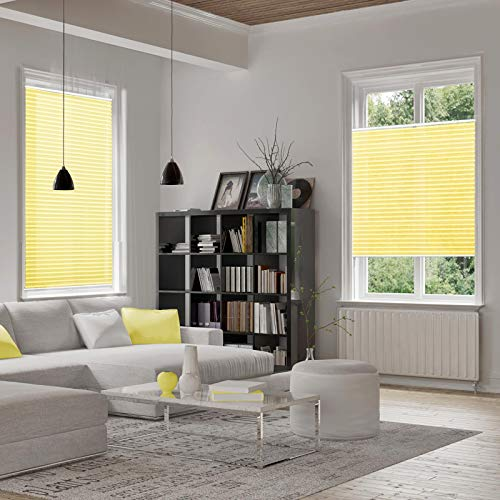 casa pura® Plissee Rollo   mit eleganter Crushed Optik   Klemmfix ohne Bohren   lichtdurchlässig & blickdicht   gelb   8 Größen (55x200cm) - 2