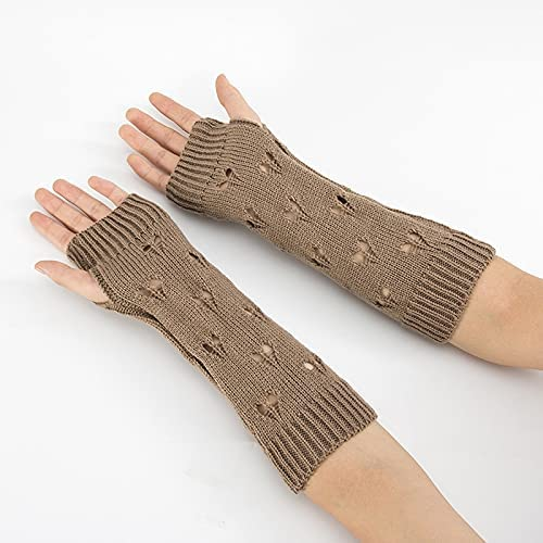 Rainny Ladies Knitted Gloves, Warm Hand Winter Gloves, Ladies arm Crochet Mittens, Warm Fingerless Gloves, (Color : Khaki, Gloves Size : One Size)