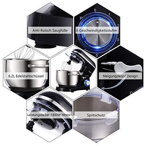 Aucma Küchenmaschine 1400W mit 6,2L Edelstahl-Rühlschüssel, Rührbesen, Knethaken, Schlagbesen und Spritzschutz, 6 Geschwindigkeit Geräuschlos Teigmaschine, Schwarz - 6