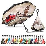Sharpty Inverted Umbrella, Umbrella Windproof, Reverse Umbrella, Umbrellas for Women, Upside Down Umbrella with C-Shaped Handle (London)