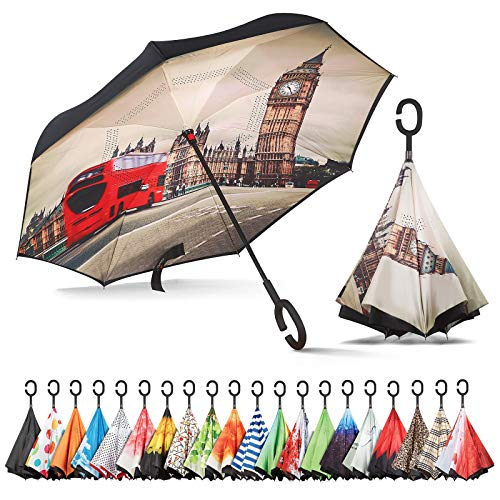 Sharpty Inverted Umbrella, Umbrella Windproof, Reverse Umbrella, Umbrellas for Women, Upside Down Umbrella with C-Shaped Handle (London)
