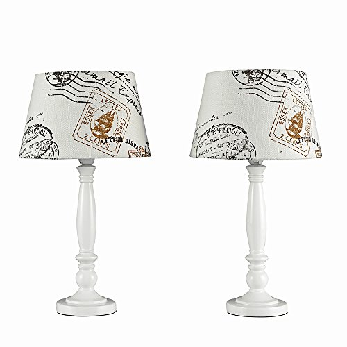 Pair of - Shabby Chic Traditional White Spindle Base and Cream Vintage Letter Stamp Design Light Shade Table Lamps