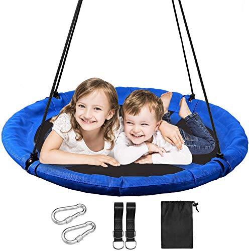YQZ Asiento de Columpio para niños, Columpios de árbol de platillo de 43'para niños y Adultos, Columpio Redondo Extra Grande de Servicio Pesado para Patio de Juegos al Aire Libre al Aire Libre