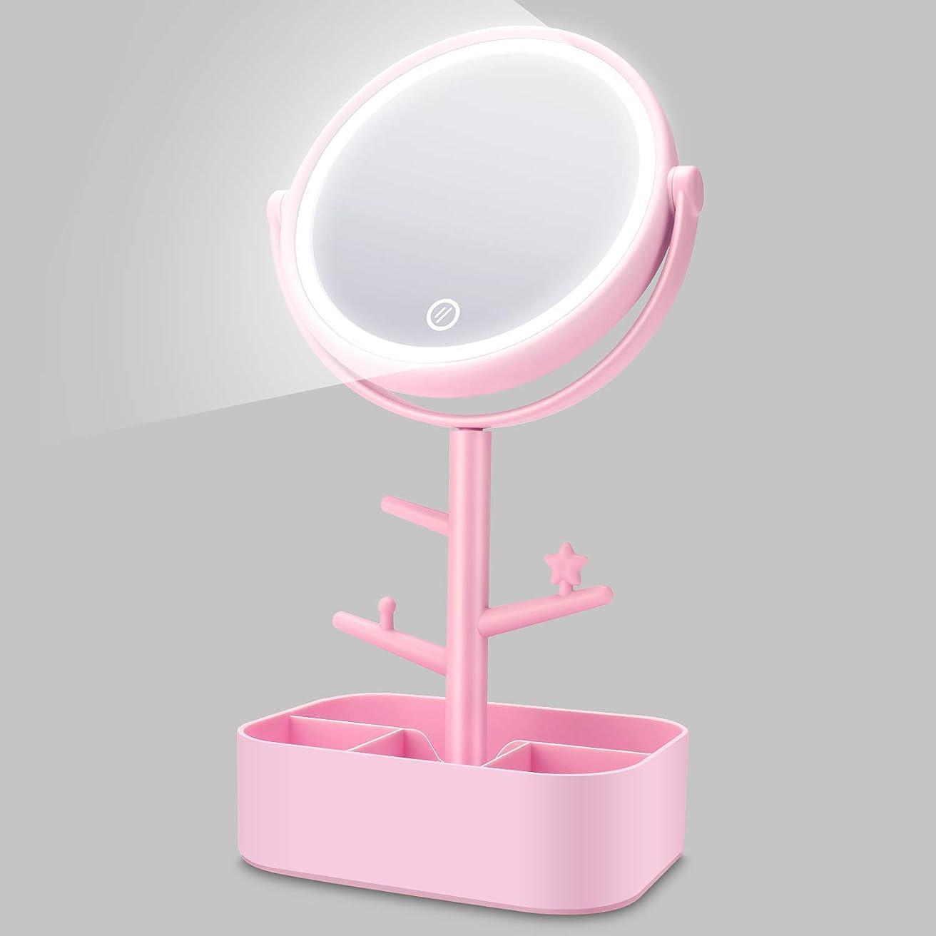 ラケットたらい変形化粧鏡 LED 卓上鏡 メイク 女優 スタンドミラー LEDライト付き 明るさ調節可 充電式 360度回転 収納 自然光 柔らかい光 折りたたみ式 USB/乾電池給電 ホワイト (ピンク)