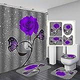 Fashion_Man Duschvorhang, Regentropfen, Schmetterling, Rose, Blume, Stoff, Polyester, wasserdicht, rutschfest, Badezimmerteppich-Set, WC-Deckelbezug, elegante Badezimmerdekoration, Violett