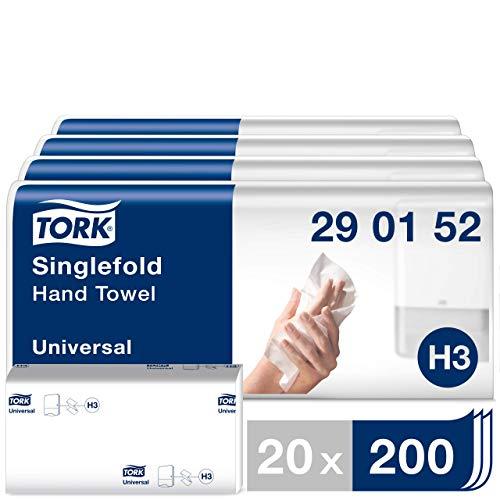 Tork Zickzack Papierhandtücher Universal 290152 - H3 Falthandtücher für Papierhandtuchspender - 1-lagig, weiß - 20 x 200 Tücher