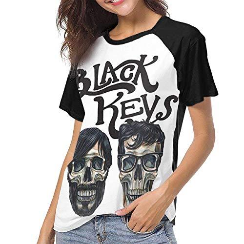 JEWold The Black Keys Manga Corta de béisbol para Mujer Camisetas raglán Negras Camisetas para Mujeres