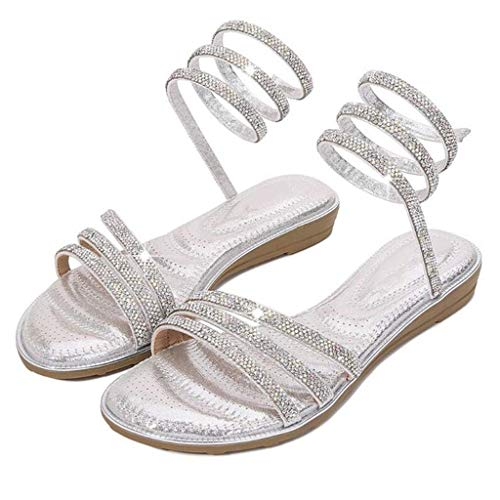 QLIGHA Sandalias de Diamantes de imitación con Cabeza Redonda, cinturón de Ocio, Zapatos con Punta Abierta, Sandalias de Verano para Mujer