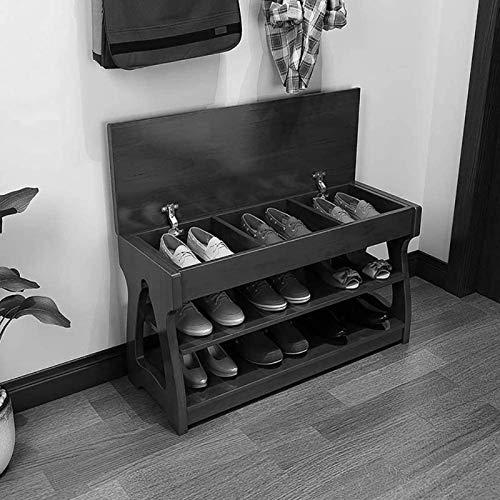 JXINGY Banco de Zapatos de Madera Maciza con Espacio de Almacenamiento Banco Largo De 2 Capas Hall de Entrada Porche Estilo Chino Armario de Zapatos Resistente Simple