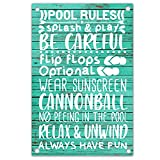 akeke Pool Rules Funny Retro Metal Sign Decorate, Use Indoor/Outdoor Wall Decor, Swimming Pool Sign
