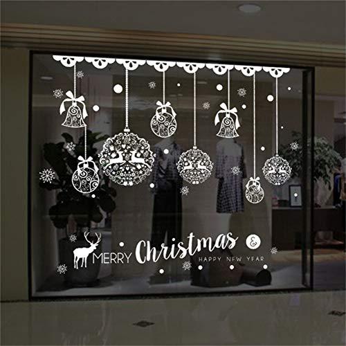 VIOYO Kerstbal Patroon Sticker Glazen Deur Decals Boom Showcase Mall Nieuwjaar Navidad Party Diy Muurstickers Decor