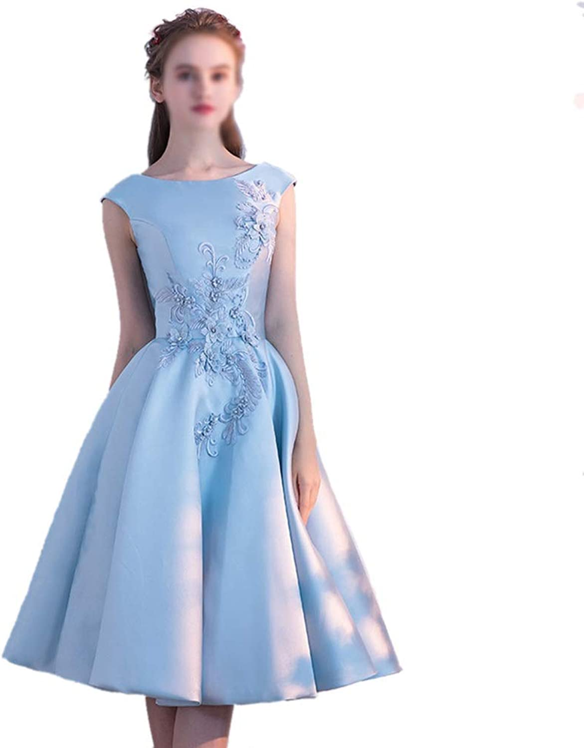 MISSKERVINFENDRIYUN Spring bluee Stain Sleeveless Embroidery Party Dress Bridesmaid Dress