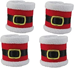Vosarea 4PCS Santa Belts Napkin Rings Creative Christmas Napkin Holders Buckle Serviette Holder Dinner Table Decor