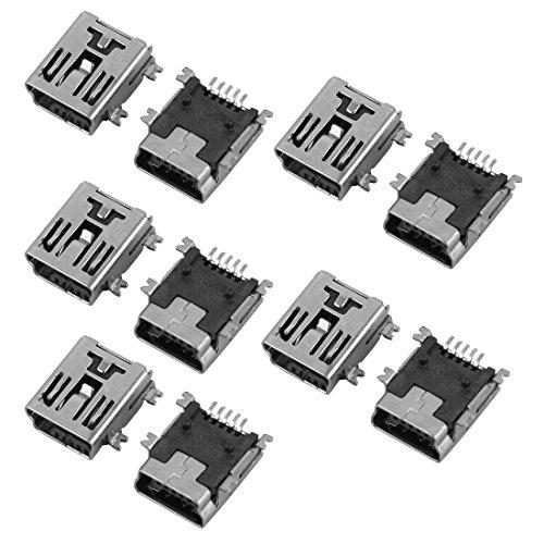 sourcingmap Dieci pz Mini USB 5P adattatore femmina Jack Connettori a saldare