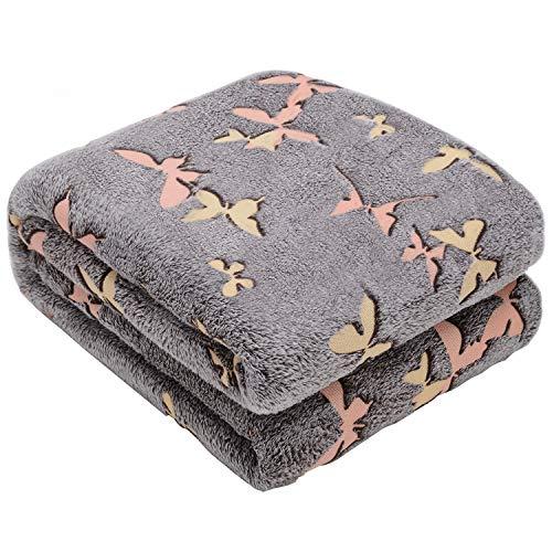 Glow in The Dark Throw Blanket,Super Soft Warm Cozy Fuzzy Plush Butterfly Pattern Blanket for Teens Kids Women Girls Best Friend Birthday (50 x 60 Inches)