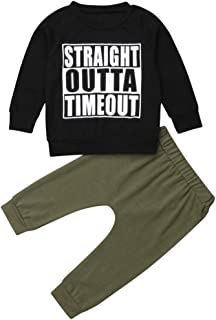 Baby Boy Outfit Clothes Straight Outta Timeout Pullover Shirt Hooded Sweatshirt Tops Cool Army Green Pants Outfits Set