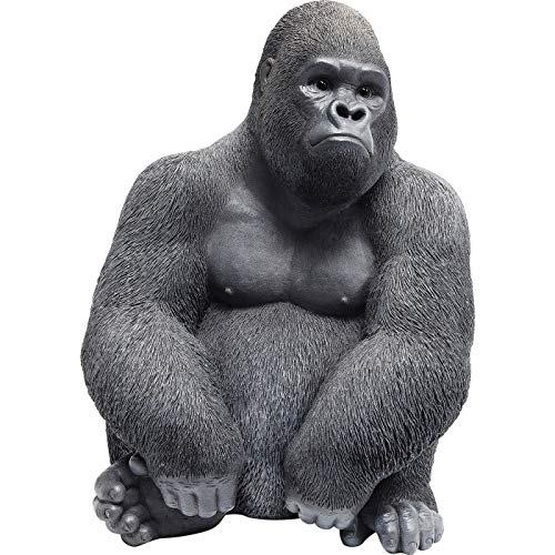Kare Design Deko Figur Side Medium, große Form eines Gorillas, ausgefallene Wohnzimmer Dekoration, Dekofigur Gorilla Schwarz, Dekoobjekt AFFE (H/B/T) 38,5x30x28cm