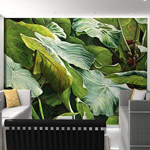 3D Mur Des Autocollants Fond D'Écran Peintures Murales Décorations Feuillage De La Jungle Tropicale Du Sud-Est Asiatique Laisse Une Décoration De Salon Art Des Gamins Chambres À Co (W)300X(H)210Cm